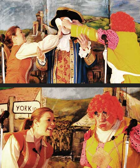 close up view of stage doors own production of jack and the beanstalk showing sean glenn getting a custard pie from either side