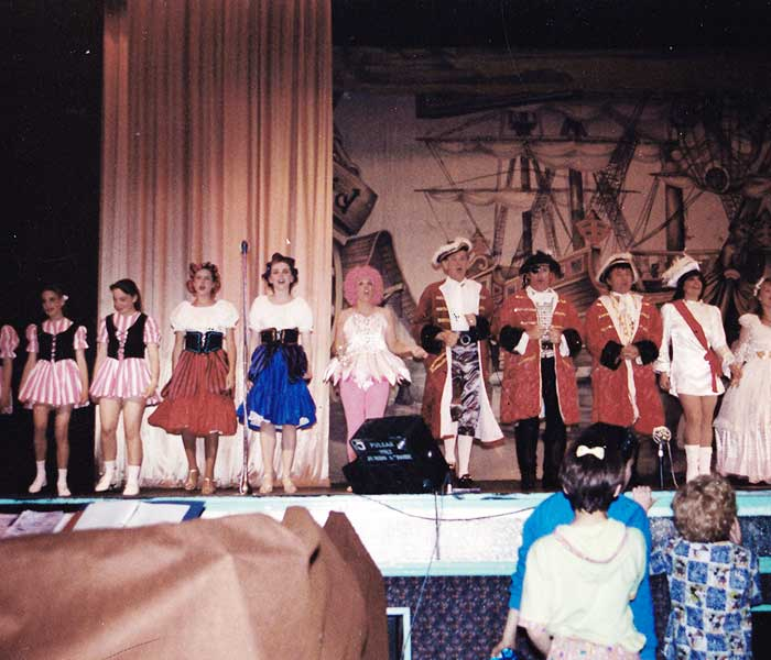 distance view of the cast members of our robinson crusoe production taking a bow in bridlington leisure world